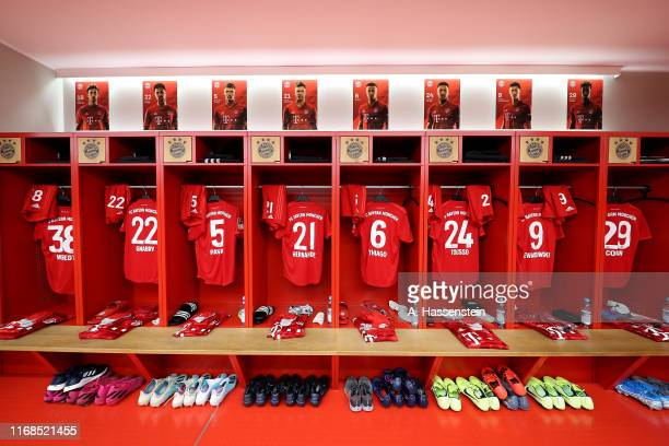 A general view of FC Bayern Muenchen team dressing room prior to the Bundesliga match between FC Bayern Muenchen and Hertha BSC at Allianz Arena on...