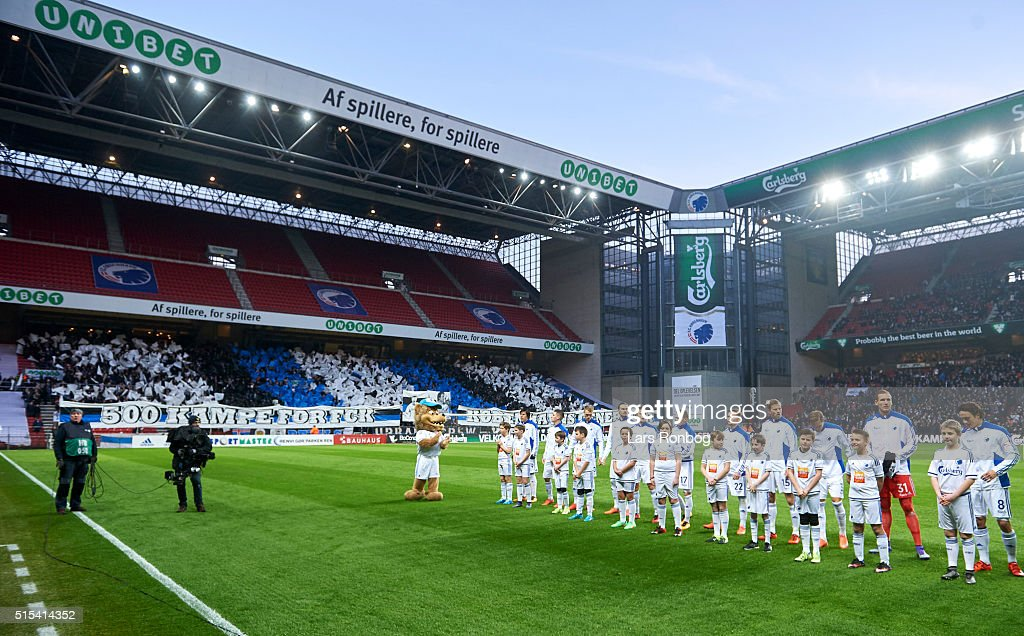 General view of FC Copenhagen walking on to the pitch with the tifo in the background prior to the Danish Alka Superliga match between FC Copenhagen and AaB Aalborg at Telia Parken Stadium on March 13, 2016 in Copenhagen, Denmark.