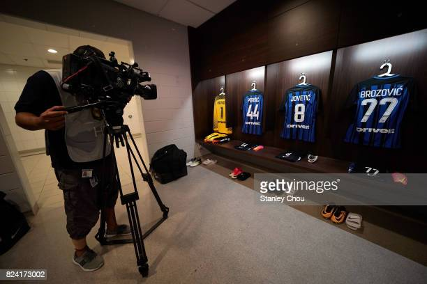 General view of FC Internazionale player jerseys prior to kick off during the International Champions Cup match between FC Internazionale and Chelsea...