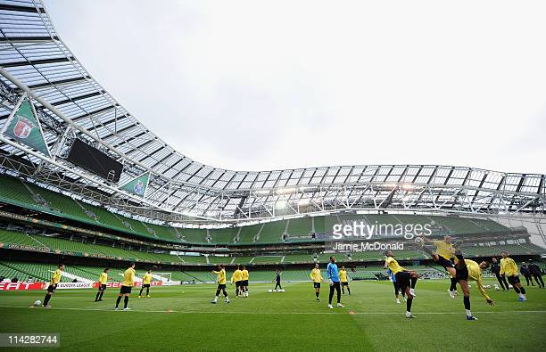A general view of FC Porto players during a FC Porto training session ahead of their UEFA Europa League Final against SC Braga at The Dublin Arena on...