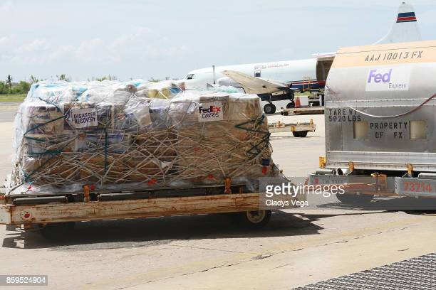 General view of FedEx airplane with supplies for victims of Hurricane Maria at Rafael Hernandez Airport on October 9 2017 in Aguadilla Puerto Rico