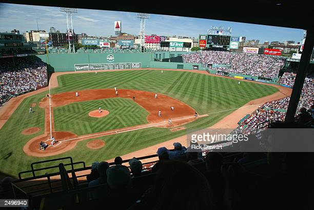 A general view of Fenway Park and the Green Monster during a game between the New York Yankees and the Boston Red Sox on August 31 2003 in Boston...