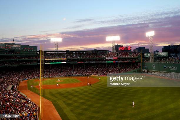 A general view of Fenway Park during the fourth inning of the game between the Boston Red Sox and the Toronto Blue Jays on July 19 2017 in Boston...