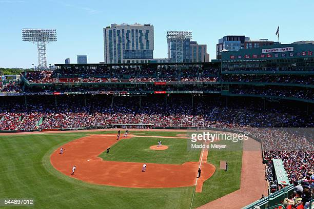 A general view of Fenway Park during the game between Boston Red Sox and the Texas Rangers on July 4 2016 in Boston Massachusetts