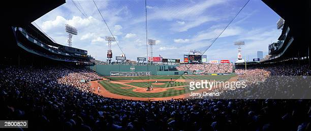 General view of Fenway Park from behind home plate lower level during the American League game between the Boston Red Sox and the New York Yankees at...