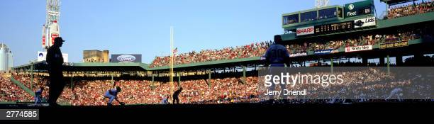General view of Fenway Park from inside the Boston Red Sox dugout during the American League game against the New York Yankees at Fenway Park on July...