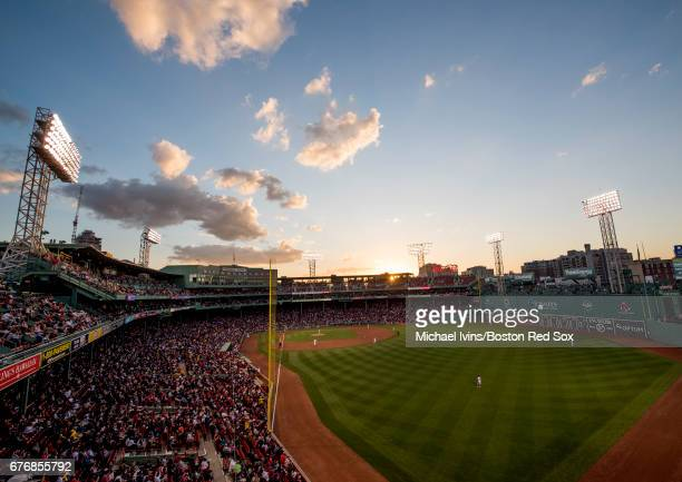 General view of Fenway Park from left field during a game between the Boston Red Sox and the Baltimore Orioles on May 2, 2017 in Boston,...