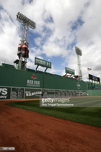 General view of Fenway Park's Green Monster before a game between the Texas Rangers and the Boston Red Sox on June 11, 2006 at Fenway Park in Boston,...