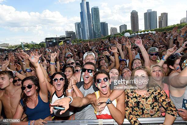 A general view of festival attendees watching Walk the Moon perform during Lollapalooza 2015 at Grant Park on August 1 2015 in Chicago United States