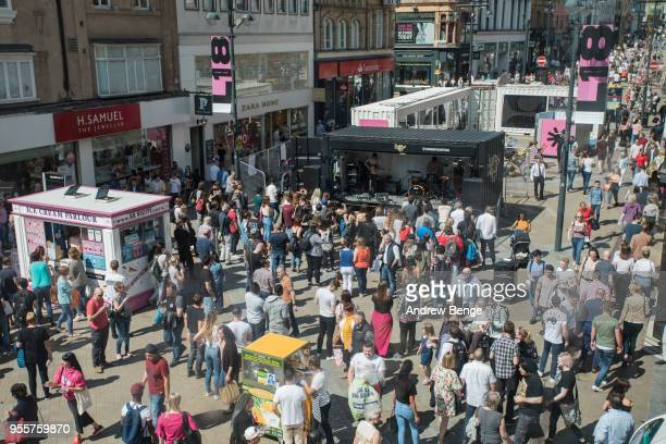 General view of festival goers at Briggate during Live At Leeds on May 5 2018 in Leeds England At Leeds