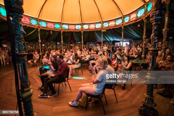 General view of festival goers at Spiegeltent in Millennium Square during Live At Leeds on May 5 2018 in Leeds England