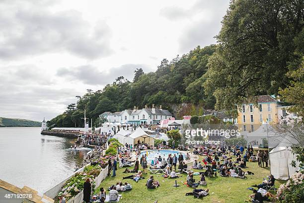 General view of festival goers at the estuary during day 4 of Festival No 6 on September 6, 2015 in Portmeirion, Wales.