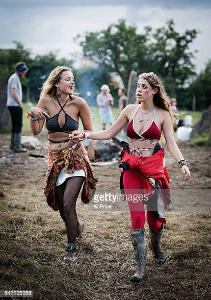 A general view of festival goers at the Glastonbury Festival at Worthy Farm Pilton on June 22 2016 in Glastonbury England Now in its 46th year the...