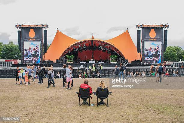 General view of festival goers at the Orange stage during Roskilde Festival 2016 on July 01 2016 in Roskilde Denmark