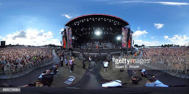 General view of festival goers attending the V Festival at Hylands Park on August 21 2016 in Chelmsford England