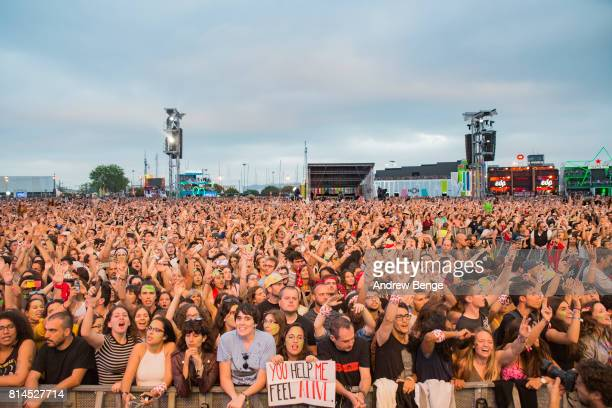 General view of festival goers during day 3 of NOS Alive on July 8 2017 in Lisbon Portugal