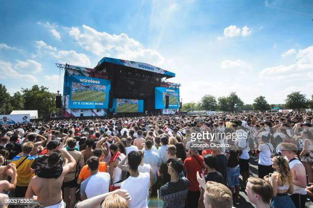 General view of Festival goers enjoying the England vs Sweden world cup match during Day 2 of Wireless Festival 2018 at Finsbury Park on July 7 2018...