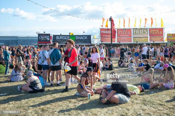 General view of festival go-ers enjoying the sun and shopping during Reading Festival 2021 at Richfield Avenue on August 28, 2021 in Reading, England.