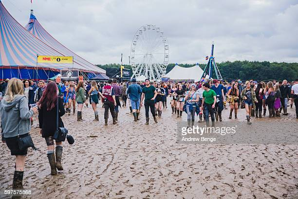General view of festival goers in the mud during day 3 at Leeds Festival 2016 at Bramham Park on August 28, 2016 in Leeds, England.