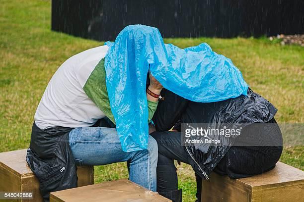 General view of festival goers sheltering from the rain during Roskilde Festival 2016 on July 01 2016 in Roskilde Denmark