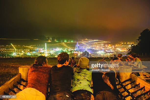 General view of festival goers taking in the view over DSTRKT 5 on Day 1 of BoomTown Fair on August 14, 2015 in Winchester, England.