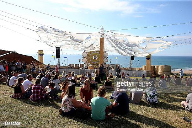 A general view of festival goers watching Tristan Da Cunha on the Corona Sunsets Stage at Boardmasters Festival on August 7 2015 in Newquay England