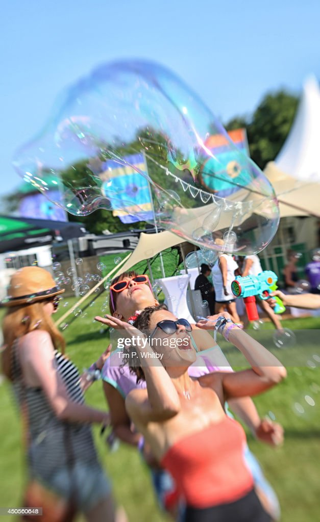 A general view of festival-goers at The Isle of Wight Festival at Seaclose Park on June 13, 2014 in Newport, Isle of Wight.
