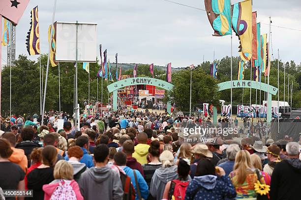 A general view of festivalgoers during The Isle of Wight Festival at Seaclose Park on June 15 2014 in Newport Isle of Wight