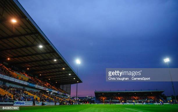 A general view of Field Mill home of Mansfield Town FC during the EFL Checkatrade Trophy Northern Section Group G match between Mansfield Town and...