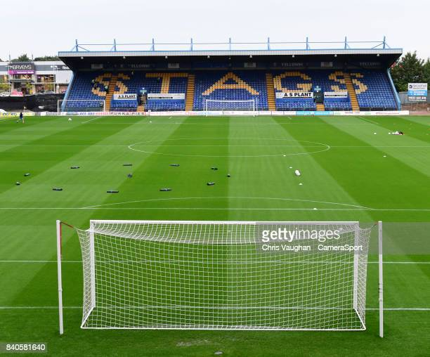 A general view of Field Mill home of Mansfield Town FC prior to the EFL Checkatrade Trophy Northern Section Group G match between Mansfield Town and...