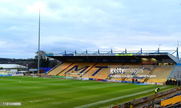 A general view of Field Mill home of Mansfield Town FC prior to the Sky Bet League Two match between Mansfield Town and Lincoln City at Field Mill on...