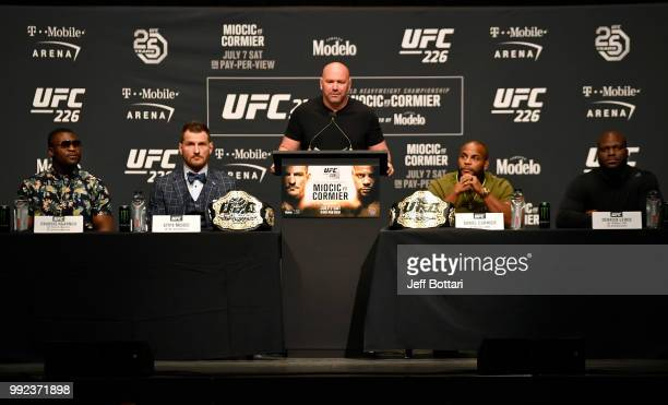 A general view of fighters on the dais during the UFC 226 Press Conference inside The Pearl concert theater at Palms Casino Resort on July 5 2018 in...