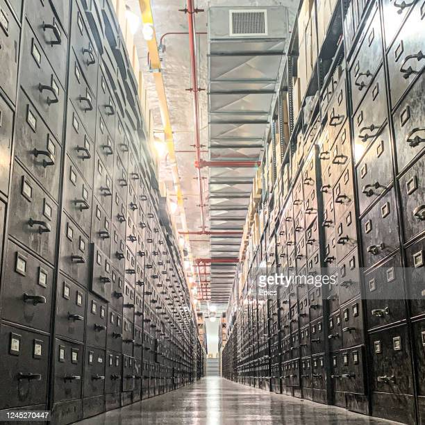 A general view of filing cabinets housing historical photographs from the famed Bettmann photographic collection which is housed 220ft underground in...