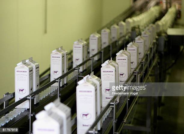 A general view of filled milk cartons speed along a conveyor belt at the MeyereiTrittau dairy plant on July 1 2008 in Trittau Germany German dairy...