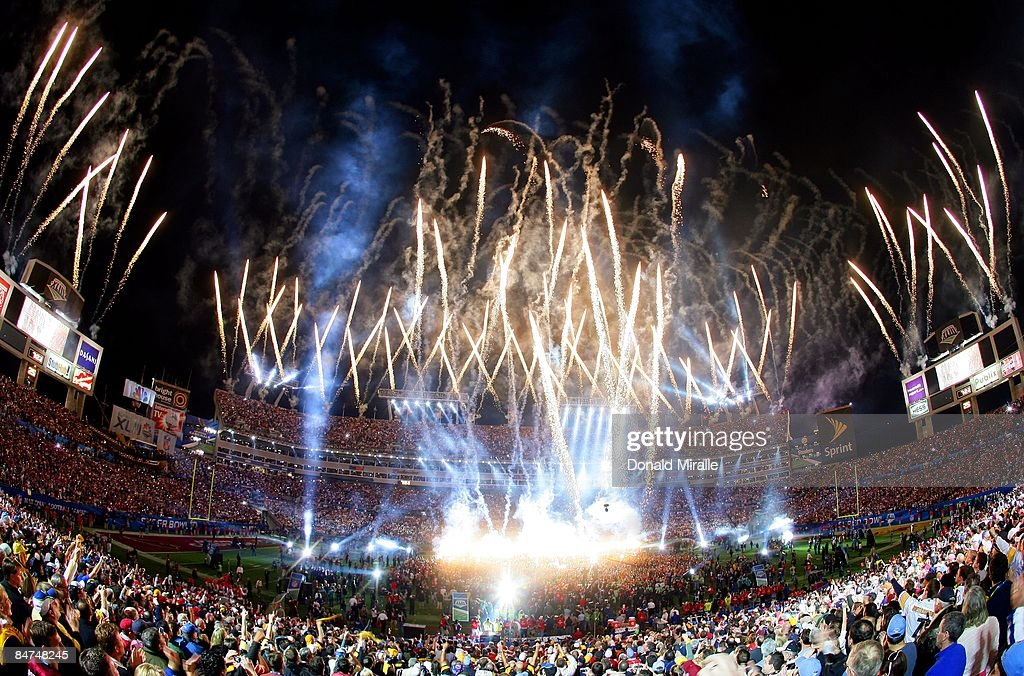 A general view of fireworks as Bruce Springsteen and the E Street Band perform at the Bridgestone Halftime Show during Super Bowl XLIII between the Arizona Cardinals and the Pittsburgh Steelers at Raymond James Stadium on February 1, 2009 in Tampa, Florida.