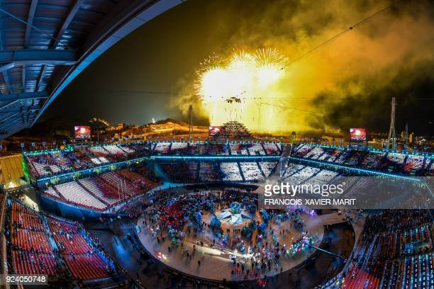 General view of fireworks as the Olympic flame is set off at the end of the closing ceremony of the Pyeongchang 2018 Winter Olympic Games at the...
