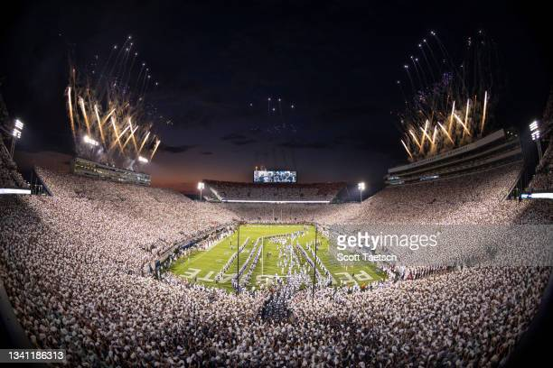 General view of fireworks as the Penn State Nittany Lions take the field before the whiteout game against the Auburn Tigers at Beaver Stadium on...