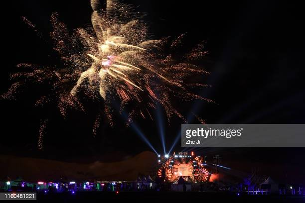 General view of fireworks at Gobi Heaven at the Gobi Desert in inner Mongolia on August 9, 2019 in Hanggin Rear Banner, China. About 20,000 people...