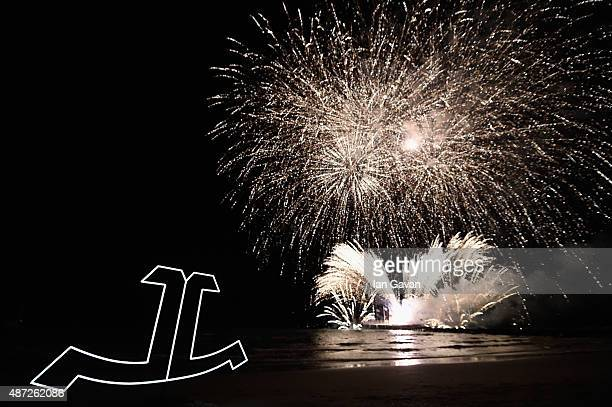 General view of fireworks at the Jaeger-LeCoultre gala event celebrating 10 years of partnership with La Mostra Internazionale d'Arte Cinematografica...