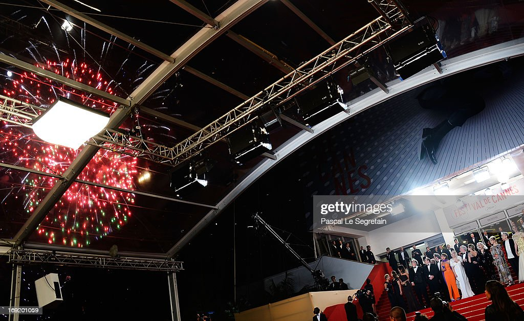 A general view of fireworks at the 'La Grande Bellezza' premiere during The 66th Annual Cannes Film Festival at Theatre Lumiere on May 21, 2013 in Cannes, France.