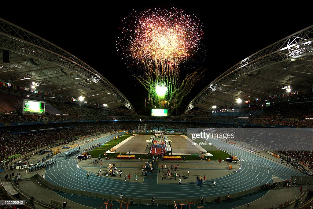 General View of fireworks at the Opening Ceremony during day one of 13th IAAF World Athletics Championships at the Daegu Stadium on August 27, 2011 in Daegu, South Korea.