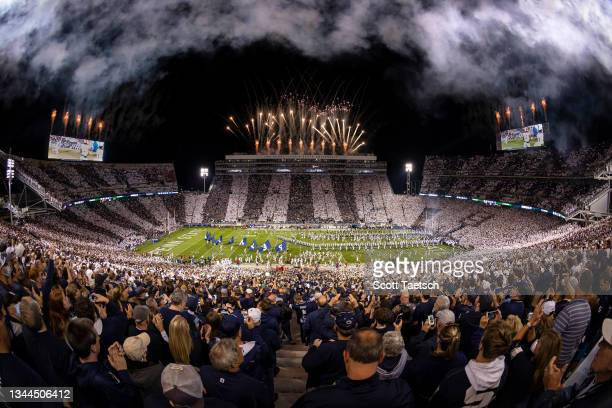 General view of fireworks before the Stripe Out game between the Penn State Nittany Lions and the Indiana Hoosiers at Beaver Stadium on October 2,...