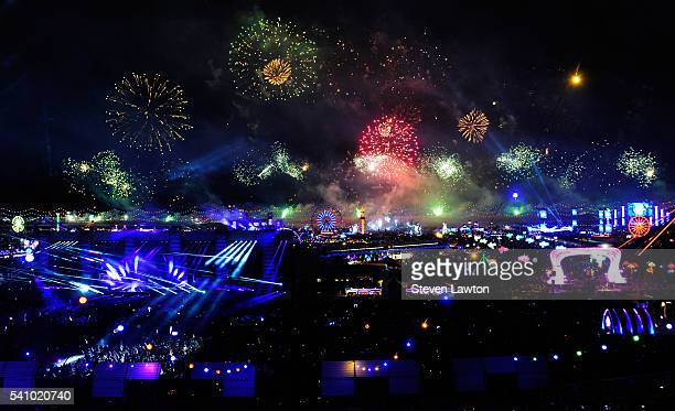 General view of fireworks during the 20th annual Electric Daisy Carnival at Las Vegas Motor Speedway on June 17 2016 in Las Vegas Nevada