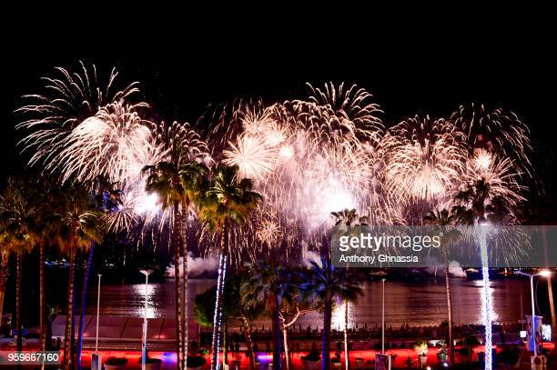 A general view of fireworks during the 71st annual Cannes Film Festival on May 15 2018 in Cannes France
