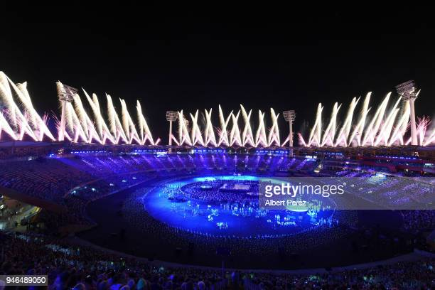 A general view of fireworks during the Closing Ceremony for the Gold Coast 2018 Commonwealth Games at Carrara Stadium on April 15 2018 on the Gold...