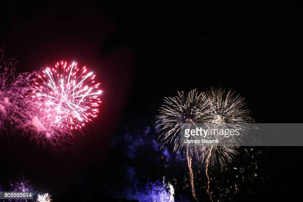 A general view of fireworks during the Goodwood Festival of Speed at Goodwood on July 1 2017 in Chichester England