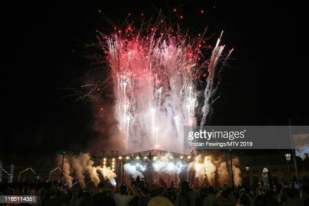 A general view of fireworks during the World Stage held at the Plaza de Espana ahead of the MTV EMAs 2019 on November 02 2019 in Seville Spain