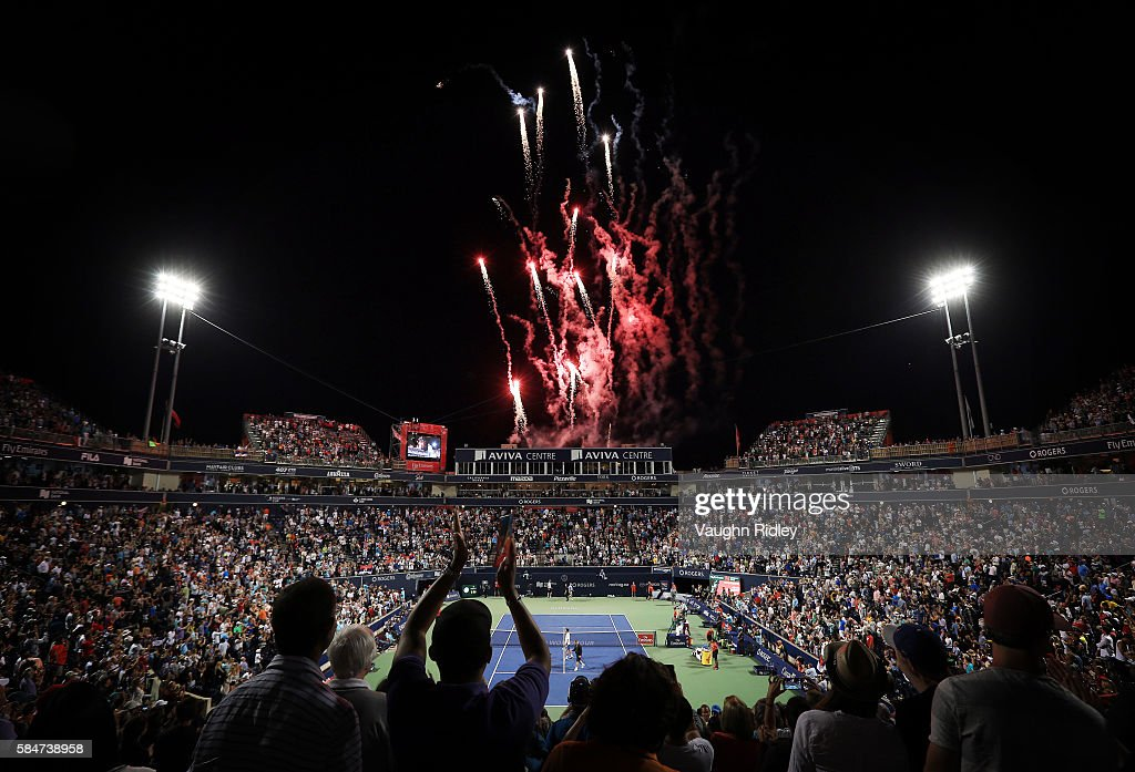 General view of fireworks on Centre Court as Novak Djokovic of Serbia celebrates victory over Gael Monfils of France during Day 6 of the Rogers Cup at the Aviva Centre on July 30, 2016 in Toronto, Ontario, Canada.