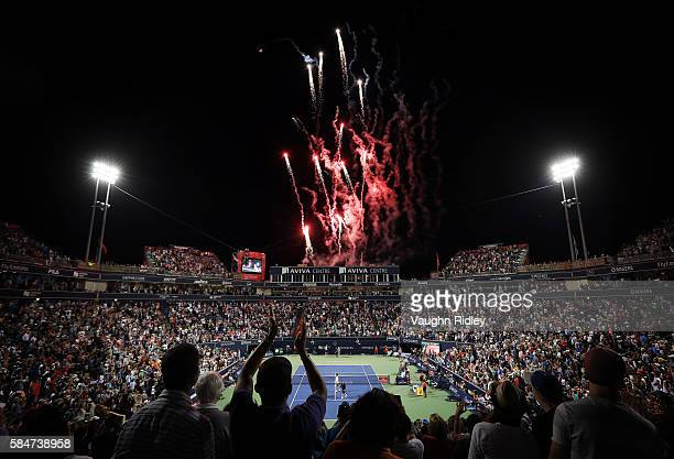 General view of fireworks on Centre Court as Novak Djokovic of Serbia celebrates victory over Gael Monfils of France during Day 6 of the Rogers Cup...