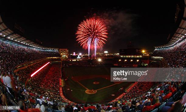 General view of fireworks over Angel Stadium during 'Big Bang Friday' on July 14 2006